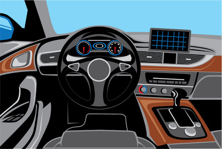 airbag: Auto interior inside vehicle car vector image