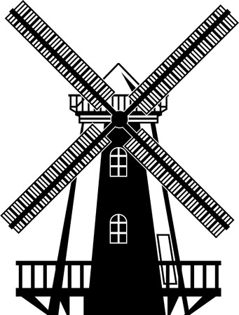 Wind mill vector illustration clip-art black and white image