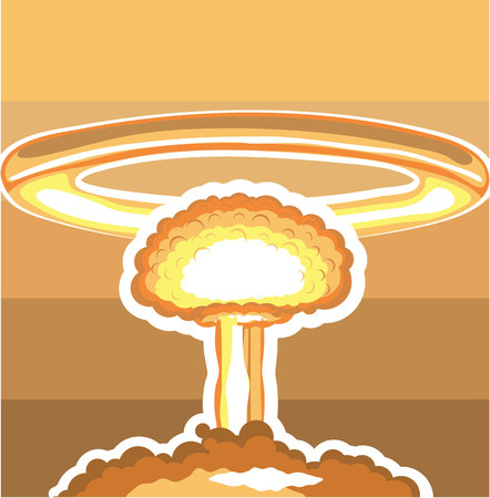 world war two: Nuclear explosion vector illustration clip-art image Illustration