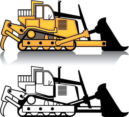 Immagine di clipart dell'illustrazione di vettore del veicolo della bulldozer