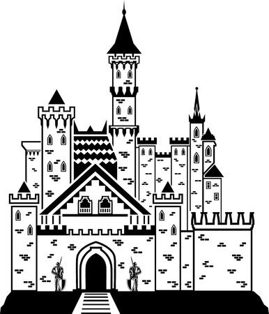 royal person: Castle knight vector illustration clip-art image