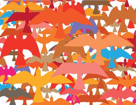 swooping: Tons of birds vector illustration clip-art image Illustration