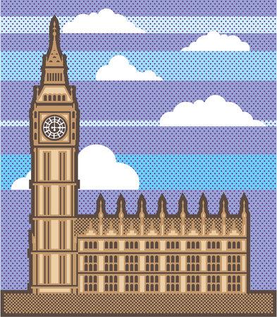 Clock tower vector illustration clip-art image