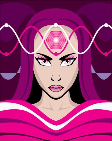 brainwaves: Female brainwaves vector illustration clip-art image