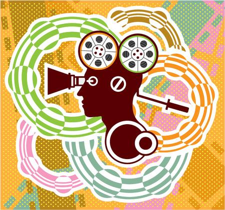Humanoid reel abstract vector art image