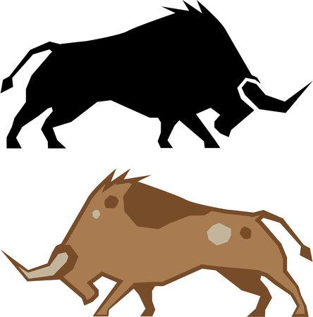 Raging bull vector illustration clip-art eps image