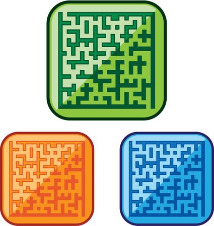 Maze glossy icon illustration clip-art image Ilustração