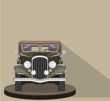 Vintage car front vector illustration clip-art image