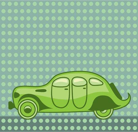 Green leaf car vector illustration clip-art image