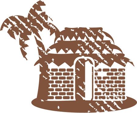 Grunge hut vector clip-art image  イラスト・ベクター素材