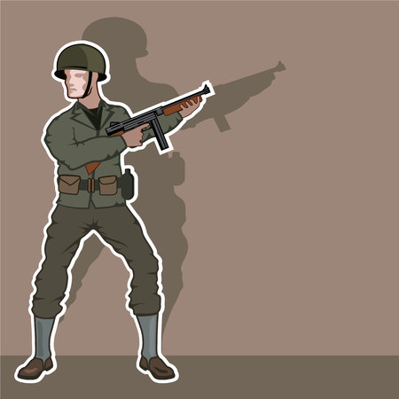 world war ii: World war II soldier vintage illustration clip-art image Illustration