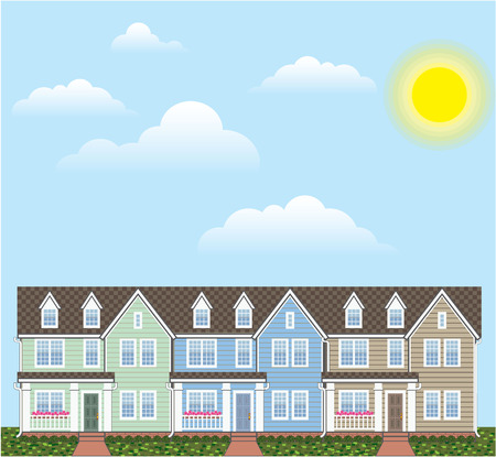 upmarket: Town homes row vector color illustration clip-art