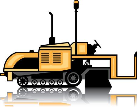 Asphalt paver vector illustration clip-art image  イラスト・ベクター素材