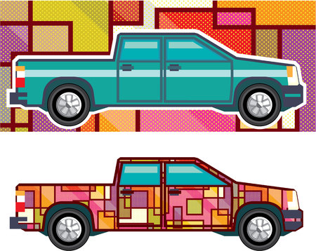 shrink wrapped: Truck wrapped auto vector illustration clip-art image
