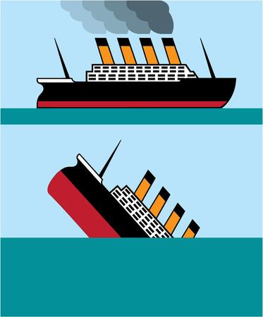 Passanger ship vintage vector illustration image