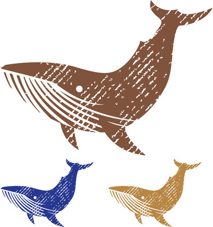 threatened: Grunge whale illustration clip-art image file