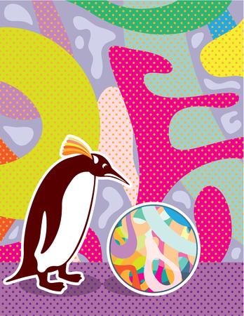 artsy: Artsy pinguin vector abstract illustration clip-art file Illustration