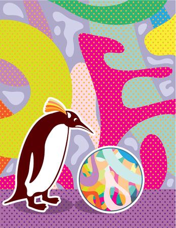 Artsy pinguin vector abstract illustration clip-art file Illustration