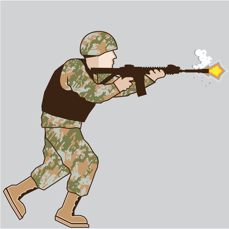 Soldier in action vector illustration image