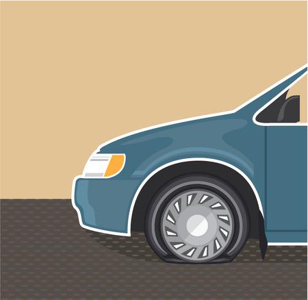 Flat tire color vihecle car illustration clip-art image