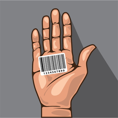 Barcode in de hand vector illustratie clip-art afbeelding