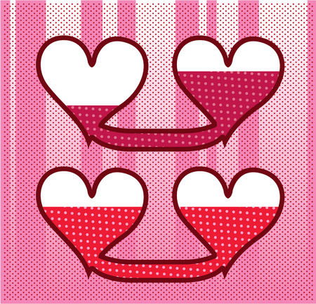 Connected hearts vector illustration clip-art image
