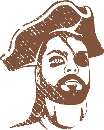 costume eye patch: Pirate captain vector illustration clip-art image