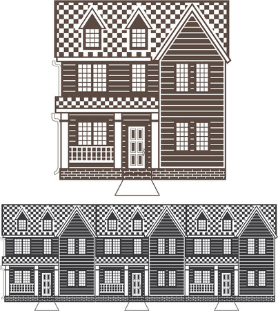 row houses: Town homes vector illustration single color image Illustration