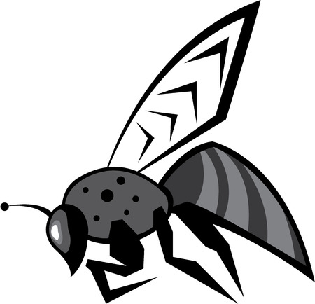 Black bee vector image clip-art