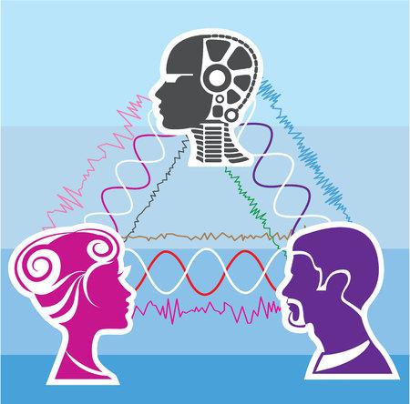 Brainwave humans and machines vector illustration Illustration