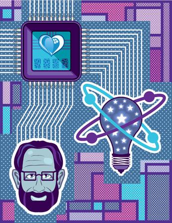 brain works: Mind works vector processor image clip-art illustration