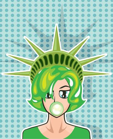 Miss America vector illustration clip-art image 矢量图像