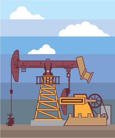 Oil rig sky vector illustration clip-art background cartoon
