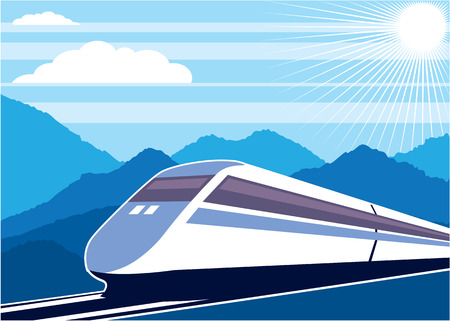commuter: Fast train vector illustration clip-art image eps