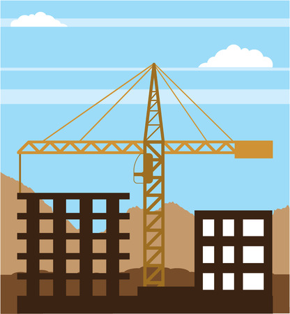 Tall building crane sky vector illustration clip-art image