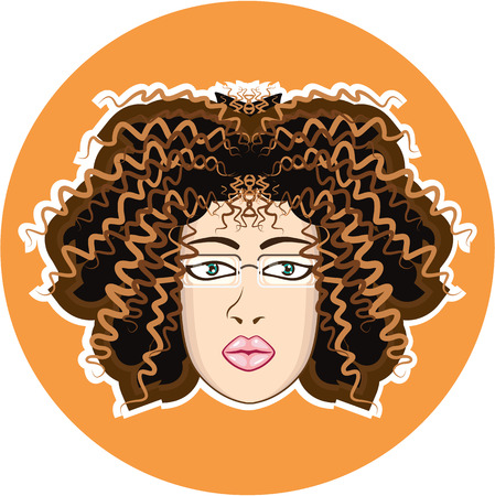 Lady curly hair vector illustration clip-art image Stock Illustratie