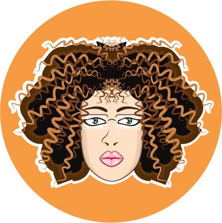 Lady curly hair vector illustration clip-art image Ilustração