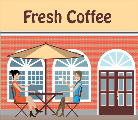 Cafe with two girls out illustration vector clip-art