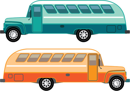 Vintage bus vector illustration clip-art image eps Иллюстрация