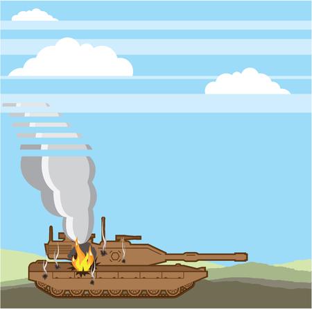 devastation: Tank on fire vector illustration clip-art image