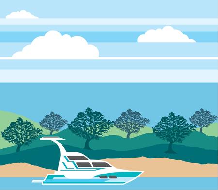 Cruiser boat vector illustration clip-art image eps file