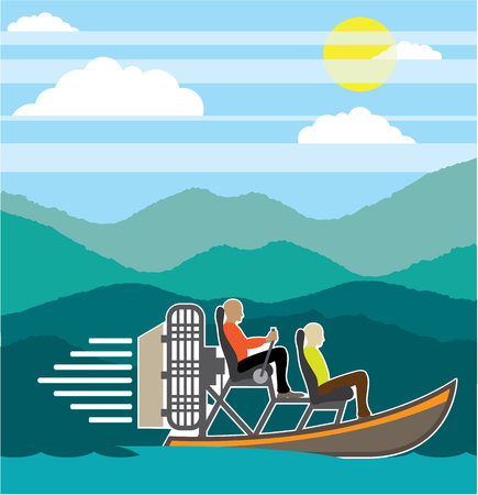 Swamp boat trip vector illustration clip-art image