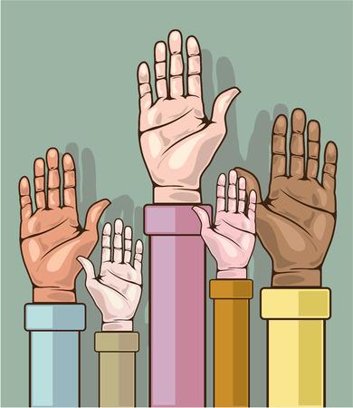 Multicultural hands vector illustration clip-art Illustration