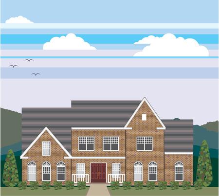 Large house landscape vector illustration clip-art Illustration