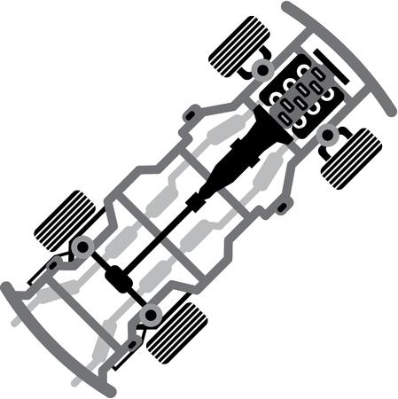 Car frame vector illustration clip-art image