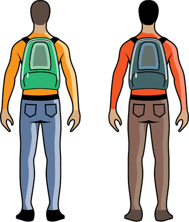 Person with a backpack vector illustration eps