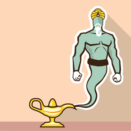 rub: Real Genie vector illustration clip-art image Illustration