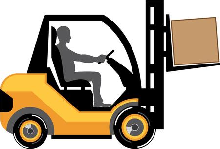 distribution picking up: Forklift machine vector illustration clip-art image