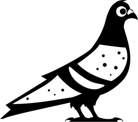 Pigeon vector black illustration clip-art image Vettoriali