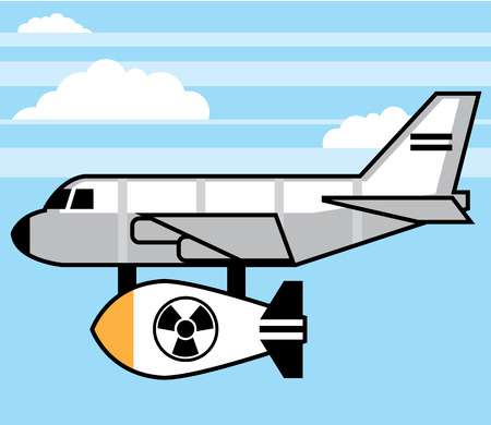 cold war: Plane cartoon bomber with a bomb vector illustration